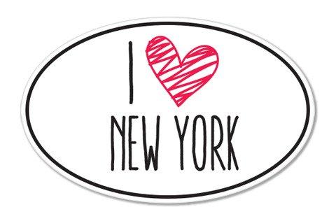 I Love My New York Oval Vinyl Sticker - Car Phone Helmet - SELECT SIZE -