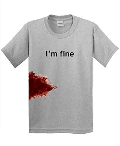 I'm Fine Graphic Zombie Slash Movie Halloween Injury Novelty Cool Funny T Shirt XL Sport Grey (Cool Halloween Ideas Guys)