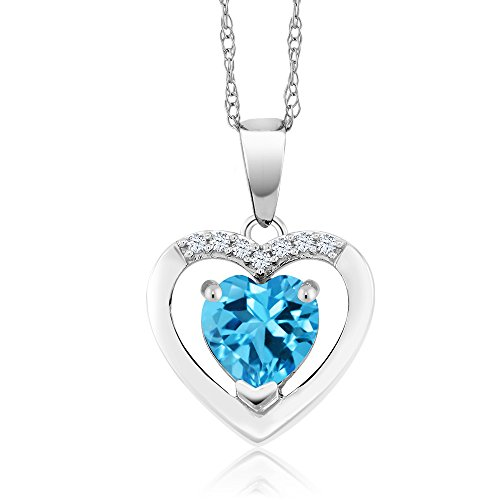Gem Stone King 10K White Gold Swiss Blue Topaz and Diamond Heart Pendant Necklace 1.00 Ct with 18 Inch Chain