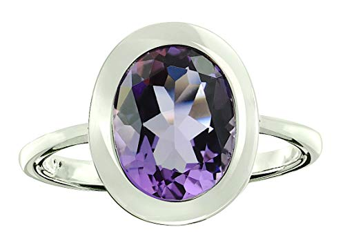 RB Gems Sterling Silver 925 Ring Genuine Gemstone Oval 10x8 mm with Rhodium-Plated Finish, Bezel-Setting (7, Amethyst)