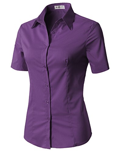CLOVERY Women's Cotton Basic Button Down Shirt Short Sleeve Pleated Blouse Violet M