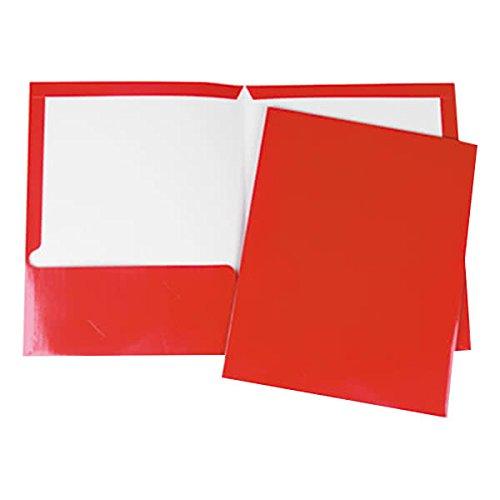 TableTop King UNV56420 Letter Size 2-Pocket Laminated Paper Pocket Folder, Red - 25/Box