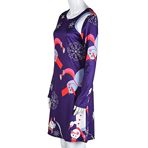 Swing F Christmas Printing Dress Party Women's Snowman BESSKY ZxHSAqBwq