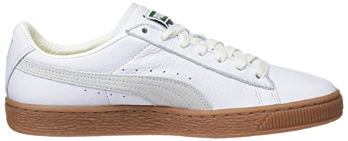 Puma Unisex Adults' Basket Classic Gum Deluxe Trainers, Weiß/Hellbraun, One Size Fits All White (Puma White 01)