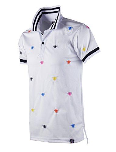 (SCREENSHOTBRAND-S11818 Mens Hipster Hip-Hop Premium Tees - Stylish Fashion Bee Print Embroidery Polo T-Shirt - White-Large)