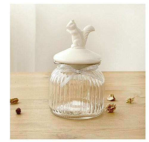 (Squirrel - Small) Glass Food Storage Canister Kitchen Storage Jar with Ceramic Airtight Lid for Kitchen Coffee, Cookies, Sugar, Flour, Wedding Party