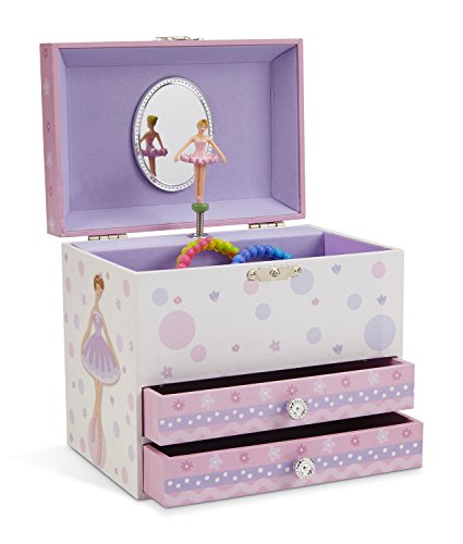 JewelKeeper White and Purple Ballerina Musical Jewelry Box with 2 Pullout Drawers, Swan Lake Tune -