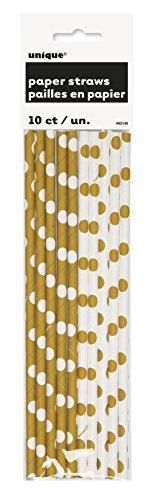 Gold Polka Paper Straws 10ct