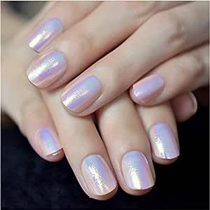 Uñas postizas 24Pcs Presione sobre uñas postizas con diseños Rosa ...
