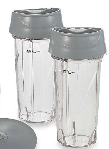 Nutri Ninja Single Serve Cup (16 oz.) & Lid for PULSE Blenders (3 Pack, To-Go Lid) (Ninja Single Pulse Blender)