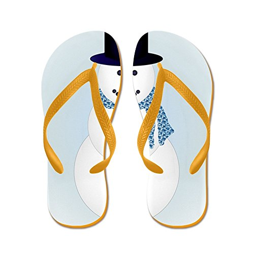 Truly Teague Mens Snowman with Winter Blue Aura Rubber Flip Flops Sandals Orange DU5L9