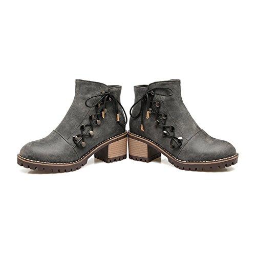 YE Damen Chunky Heels Ankle Boots Stiefeletten High Heels mit  Reißverschluss und Nieten Schnürung Blockabsatz 6cm ... 3127c2bf26