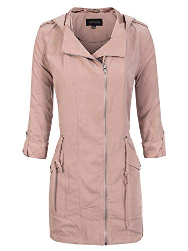 Instar Mode Women's Spring Lightweight Faux Suede Zip Up Solid Safari Jacket Coat Bright Pink L