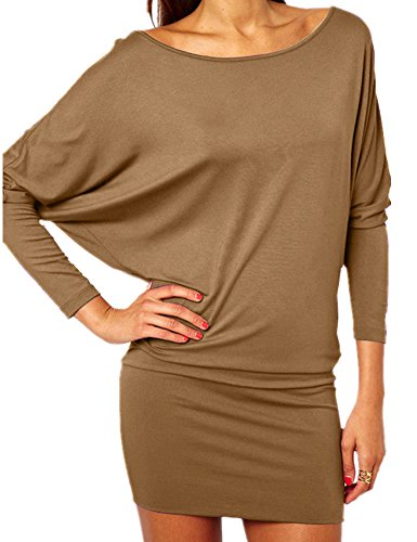 Sleeve Haola Fashion Mini Party Loose Women's Dresses Coffee Bat Loose wwqtnBTC