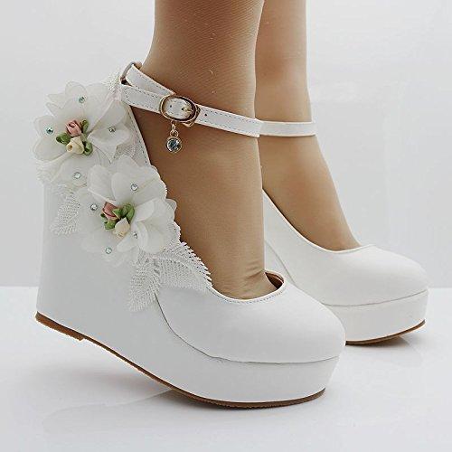con zapatos zapatos Cabeza white pendientes de cabeza waterproof Taiwán encaje de pendientes redonda boda flores zapatos ranurada redonda fijaciones con qgYqTO