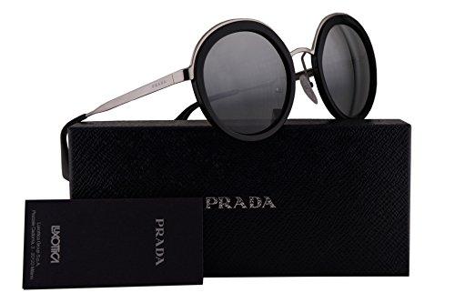 Prada PR50TS Sunglasses Black Silver w/Grey Mirror Silver Gradient 54mm Lens 1AB6N2 SPR50T PR 50TS SPR - Sunglasses Prada Round