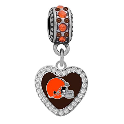 Final Touch Gifts Cleveland Browns Crystal Heart Charm Fits Most Bracelet Lines Including Pandora, Chamilia, Troll, Biagi, Zable, Kera, Personality, Reflections, Silverado and More … (Silverado Bead Charm)