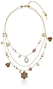 Betsey Johnson Pink Cherry Bead Illusion Necklace