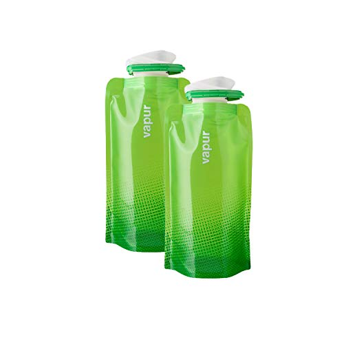 Vapur - Shades (2-Pack) 0.5L BPA Free Foldable Flexible Water Bottle w/Carabiner (Green)