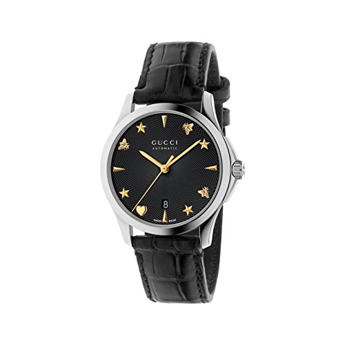 Gucci Men's Swiss Automatic Stainless Steel and Leather Dress Watch, Color:Black (Model: YA126469)