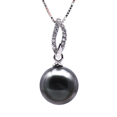 JYX Pearl Genuine AAA Quality 11mm Black Round Tahitian Cultured Pearl Pendant Necklace for Women Princess Length 18