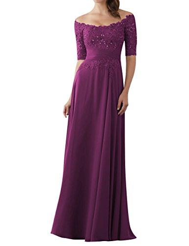 (Evening Dresses Mother of The Bride Gowns with Sleeves Lace Long Chiffon Beaded Grape US14 )