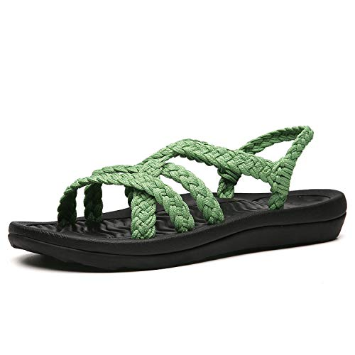 EAST LANDER Women's Comfortable Flat Walking Sandals with Arch Support Waterproof for Walking/Hiking/Travel/Wedding/Water Spot/Beach. 19ZDEA02-W16-6 Sage - Rubber Sole Sandals