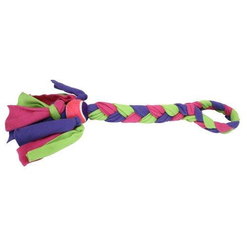 Kyjen Fleecy Clean Tennis Ball Knot Tug Dog Toy, My Pet Supplies