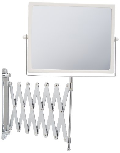 (Jerdon J2020C 8.3-Inch Two-Sided Swivel Wall Mount Mirror with 5x Magnification, 30-Inch Extension, Chrome and White Finish)