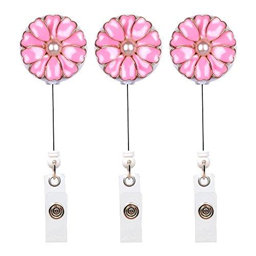 3 Porta credencial retráctil con forma de flor (rosa)