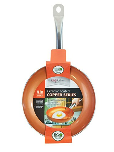 Chef's Cuisine - 8 Inches Copper Frying Pan - Ceramic Coated Aluminium Non Stick Fry Pans with Stainless Steel Handle