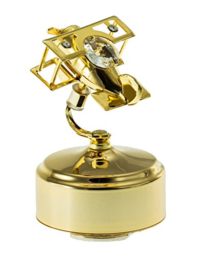 Biplane Musical Rotating 24k Gold Plated Figurine with Spectra Crystals by Swarovski ()