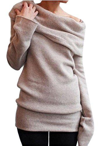 Knit Women's amp;S Heap Pile Khaki Sweater Collar amp;W Long Tops Sleeve M pt7xdqq