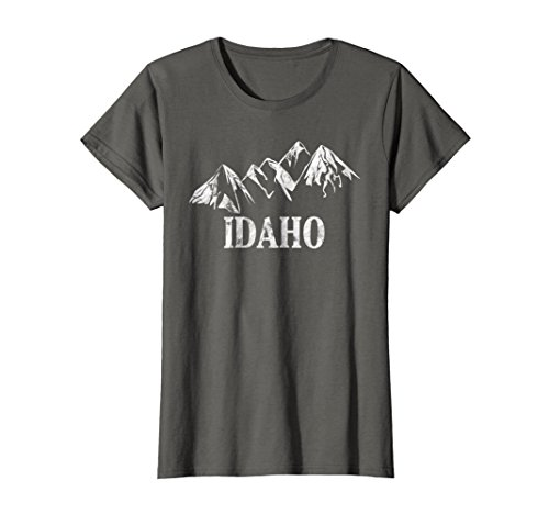 Womens Distressed Idaho Mountains State Home Pride Outdoor T Shirt Medium Asphalt
