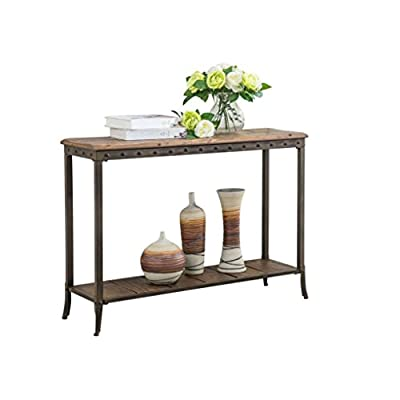 Solid Pine Finished Distressed Wood Nailhead Trimmed Metal Framed Rectangular 2 Tier Accent Console Table Includes Our Exclusive Mousepad