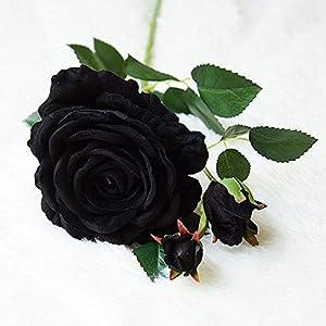 Black Velvet Rose Artificial Flower for Living Room-Rose Flower Bouquet Artificial-Real Touch Artificial Silk Flower Arrangements for Decor-Artificial Flower for Wedding Home Decoration Crafts 99