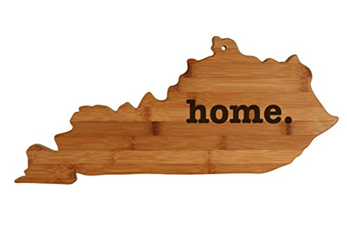 Kentucky State Shaped Bamboo Wood Cutting Board Engraved home. Personalized For New Family Home Housewarming Wedding Moving Gift ()
