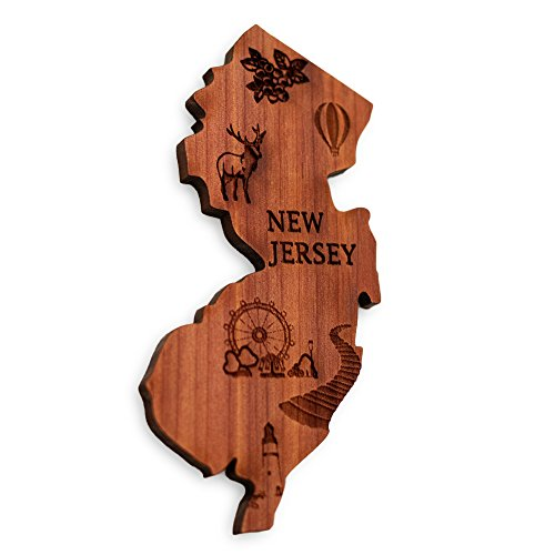 New Jersey Magnet - Perfect souvenir for kitchen refrigerators, fridges, mini fridges, RV, and other magnetic surfaces | The Garden State | US 50 States map collection set piece -