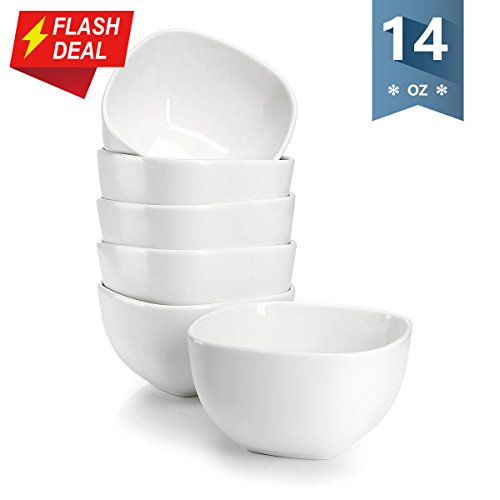 Sweese 1303 Porcelain Square Bowl Set - 14 Ounce Deep and Microwavable for Cereal, Soup and Fruit - Set of 6, Matte White by Sweese