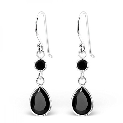 Sterling Silver Simulated Jet Hanging Circle and Teardrop Earrings with Cubic Zirconia (Jewel Jet)