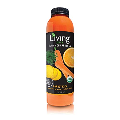 O2 Living Juice Carrot Kick Organic Cold-Pressed, No Sugar or Water Added, Made with Carrot, Orange, and Yellow Beet, Loaded with Nutrients, Vitamins, Enzymes, and Minerals (6-Pack)