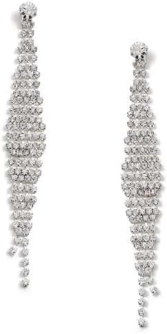 Silver Crystal Long Slanted Diagonal Rhinestone Dangle Earrings