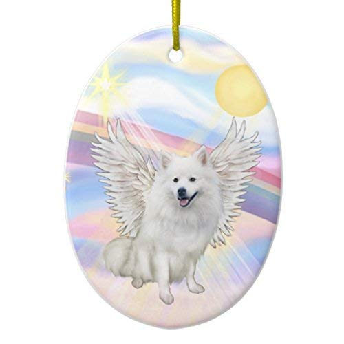 - Delia32Agnes Clouds - American Eskimo Dog Ceramic Christmas Ornaments Ceramic Double Sided Christmas Tree Decorations Hanging 3 Inches