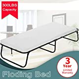 Dkeli Folding Bed Guest Rollaway Bed Frame with 3 Inch Comfort Foam Mattress Heavy Duty 300Lbs Capacity Twin Size Bed Extra Portable Flodaway Camping Cots for Adults, Kids