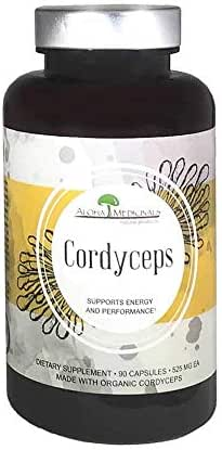 Aloha Medicinals - Pure Cordyceps - Certified Organic Cordyceps - Supports Immunity, Energy and Stamina - 525mg - 90 Vegetarian Capsules (6 Pack)