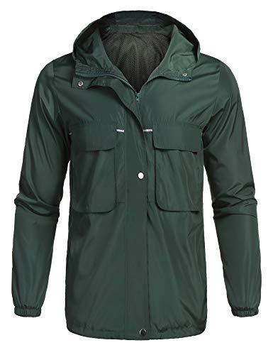 Men's Outdoor Raincoat Watertight Windproof Front-Zip Slim Fit Hooded Rain Jacket Green XL