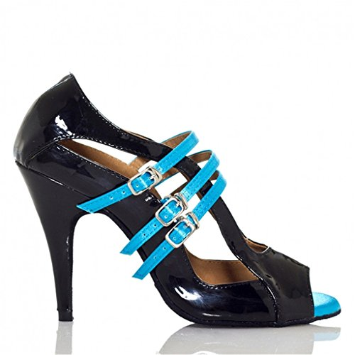 Monie Unique Tango Ballroom Dance Shoes Blue Women's Strap Ankle Salsa Modern OrB7cfq5Ow