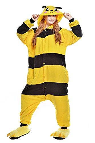 NEWCOSPLAY Unisex Adult Animal Pajamas Halloween Costume (M, Bee)]()