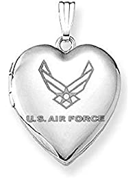 Sterling Silver Air Force Heart Locket Pendant Necklace 3/4 Inch X 3/4 Inch