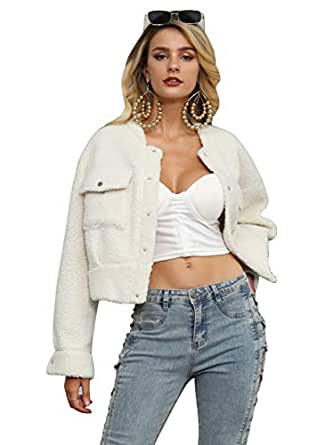 Glamaker Women's Long Sleeve Faux Fur Button Up Shearling Fleece Short Jacket Wool Coats with Pockets White Small